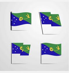 Christmas island waving flag set design vector