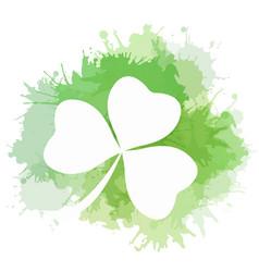 Clover with green watercolor splashes el vector