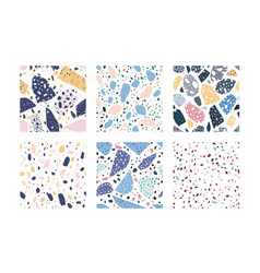 collection of terrazzo geometric textures bundle vector image