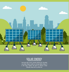color landscape background solar energy panels vector image
