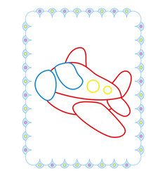 coloring book of cute red toy plane vector image