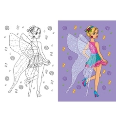 Coloring Book Of Girl In Fairy Costume vector image