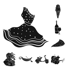 Country italy black icons in set collection for vector