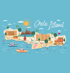 crete island map with architecture vector image