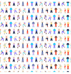 dancing disco people characters seamless pattern vector image
