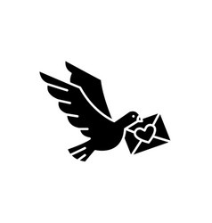 dove with a letter black icon sign on vector image