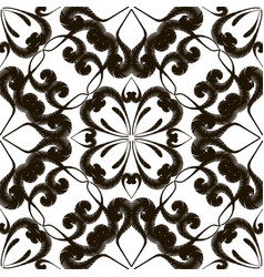 embroidery floral black and white seamless vector image
