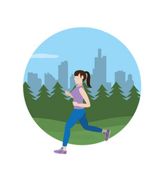 Fit woman doing exercise vector