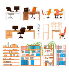 flat collection office and home work vector image