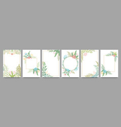 floral ornament card frame plant branches border vector image