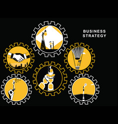 gears with business activities vector image