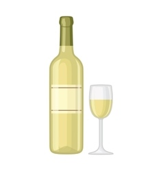 glass and bottle wine vector image