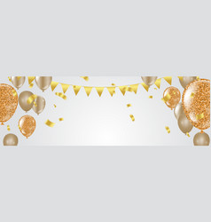 glossy balloons golden colors decorative elements vector image