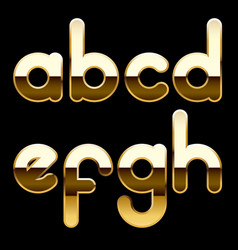 Gold alphabet small letters isolated on black vector