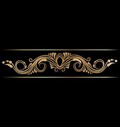 Gold indian line art border vector