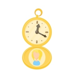 Golden pocket watch icon cartoon style vector