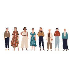 group young women girls standing at full vector image