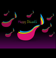 happy diwali celebration in paper cut design vector image