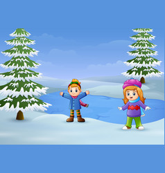 Happy kids playing in the winter landscape with fr vector