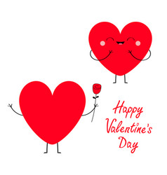 happy valentines day sign symbol red heart couple vector image
