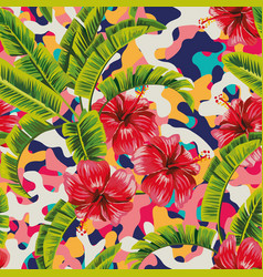 hibiscus banana leaves multicolor background vector image