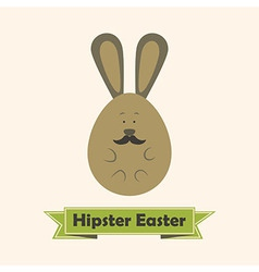 hipster easter greeting card with rabbit vector image