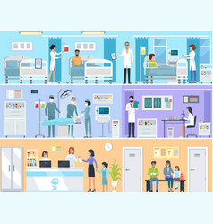 Horizontal set of medical services in hospital vector