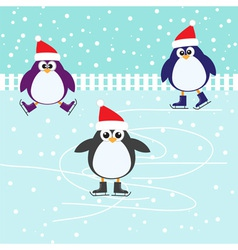 Ice skating cute penguins vector