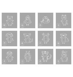 icon set with chinese zodiac signs vector image