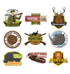 icons of hunting club or hunt open season vector image