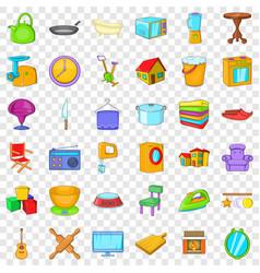 indoor icons set cartoon style vector image