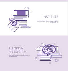 Institute and thinking correctly template web vector