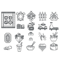 Japanese food black line icons vector image