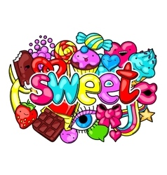 Kawaii print with sweets and candies crazy sweet vector