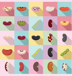 Kidney bean icons set flat style vector