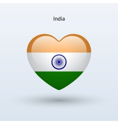 Love India symbol Heart flag icon vector