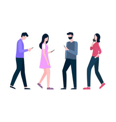 man and woman going with phone mobile vector image