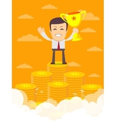 Man on the huge money staircase vector image