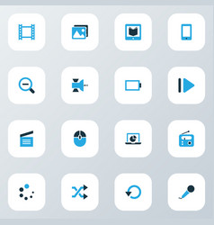 media icons colored set with satellite energy vector image