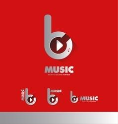 Music beats play buton logo icon vector