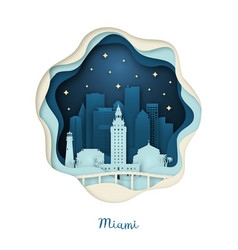 paper art miami origami concept night city vector image