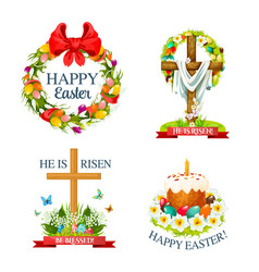 paschal easter isolated icons set vector image