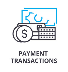 payment transactions thin line icon sign symbol vector image