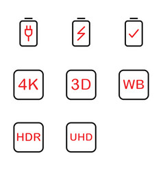 Photo editor icon set include battery charge vector