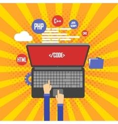 Programming and coding website development vector image