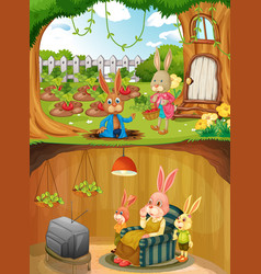 Rabbit family in underground with ground surface vector
