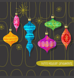 retro christmas tree ornaments set vector image