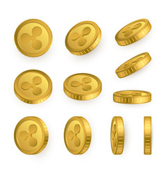 Ripple gold coins set isolated on white vector