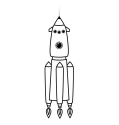 Rocket space ship retro icon line vector