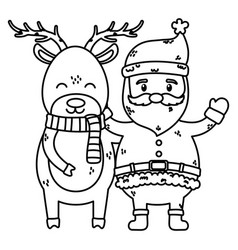 santa and reindeer with scarf celebration merry vector image